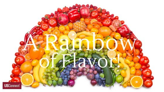 A rainbow of fruits and vegetables flavor!